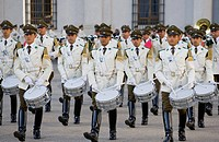 Santiago. Chile. South America. Military band plays at changing of the guard at Palacio de la Moneda, seat of President of Chile.