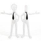 3d man businessman with light bulbs