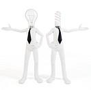 3d man businessman with light bulbs