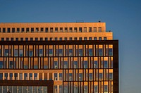 Warm evening sun light on building in Berlin, Germany