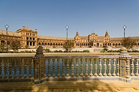 Central building and river, The Plaza de Espana , Spain Square, The Maria Luisa Park,Parque de Maria Luisa, Seville, Sevilla, Andalusia, Spain