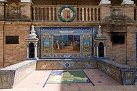 One of the tiled Province Alcoves along the walls of The Plaza de Espana , Spain Square, The Maria Luisa Park,Parque de Maria Luisa, Seville, Sevilla,...