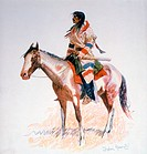 Indian Scout on Horseback, A Bunch of Buckskins, Painting by Frederic Remington, Circa 1901