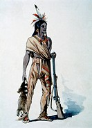 Mohican Hunter with Fur, Watercolor Painting by William L. Wells fo the Columbian Exposition Pageant, 1892