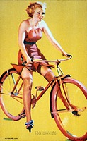 Woman Riding Bicycle, Free Wheeling, Mutoscope Card, 1940s