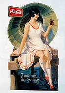 Woman with Parasol Seated on Dock, Coca Cola Advertisement, Trade Card, Circa 1926