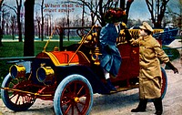 Man Assisting Woman from Automobile, When Shall We Meet Again, Hand Colored Photograph, Circa 1908
