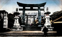 Bronze Gate of Suwa Shrine, Nagasaki, Japan, Hand Colored Photograph, Circa 1910