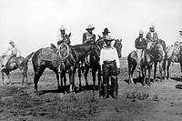 Black Cowboys on Horseback, Portrait, USA, Circa 1880