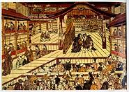 Kabuki Theatre, Japan, Woodblock Print by Okumura Masanobu, 18th Century