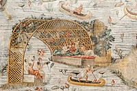 Roman antiquity, mosaic depicting the Nile river, Barberini mosaic, scene of a drinking spree in a pergola with people sitting in boats, Museo Naziona...
