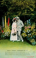 Romantic Couple Standing in Garden, Postcard, 1909