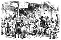 Market stall in St. Germain, slaughtered cats, rats and dogs are sold to the hungry during the German siege of Paris 1871, Paris, France, historical s...