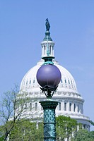 Street lamp orb of Library of Congress aligns with U.S. Capitol Dome, Washington D.C.