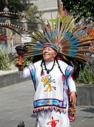 Tribal Indian Healers perform Ritual on the Zocalo in Mexico City DF