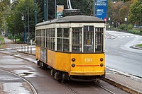 A 1920's Series 1500 electric tram on a street in Milan, Italy, Europe