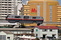 Naha, Okinawa, Japan, the Urban Monorail-Yui Rail by Lake Manko