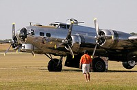 The Boeing B17 Flying Fortress 'Yankee Lady' prepares to take off at the Willow Run Airport air show in Bellville, Michigan