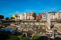 Tempio di Serapide a Roman era Macellum the market place central Pozzuoli the ancient Puteoli in Campi Flegrei area La Campania region southern Italy ...