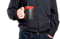 Businessman hand holding a cup of coffee on white