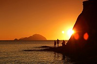 Sunset in Pollara with Filicudi island, Salina, Aeolian islands, Sicily, Italy