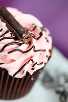 gorgeous cup cake with pink butter cream icing and chocolate swirl stick