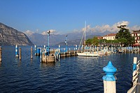 Boats in Iseo harbour, Lake Iseo, Lombardy, Italy, Europe