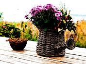 Beautiful still life basket of flowers digital art