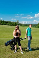 Couple on golf field