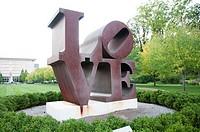 USA, Indiana, Indianapolis, Robert Indiana Love sculpture at Indiana Museum of Art