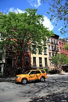 Street Scene, Taxi, Apartment Buildings, East Village, Manhattan, New York City, USA