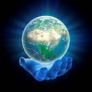 illustrated hand holding a glowing Earh globe