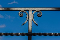 Close-up of railing with decorative element in Berlin, Germany
