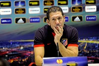 Atletico Madrid coach Diego Simeone speaks at a press conference prior to the Europa League soccer match FC Viktoria Plzen vs Atletico Madrid in Plzen...