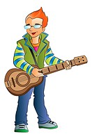 Young Male Guitarist, vector illustration