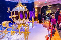 Paris, France, French Department Store, Galeries Lafayette, Disneyland Christmas Decorations, Royale Carriage