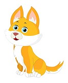 Cute orange and white cat with pointy ears, vector illustration