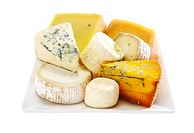 Cheese platter on white background
