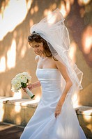Wind lifts the brides veil
