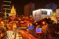 Golden Temples Roof Top Jing An Tranquility Temple Park at Nanjing Street Cars and Intersection in Central Shanghai, China Richest buddhist temple in ...