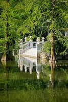 white antique stairs over lake