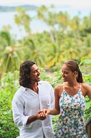 A couple in love at bora bora nui resort and spa, bora bora island society islands french polynesia south pacific