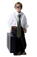Little boy dressed as business executive
