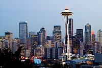 Space Needle in Seattle Washington USA at dusk