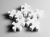 Pieces of white jigsaw puzzle