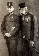 Portrait of the austrian Emperor Franz Joseph First François Joseph 1er 1830-1916 and Charles de Habsbourg during the First World War