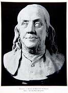 Portrait by Houdon of the famous american politician and scientist Benjamin Franklin 1706-1790