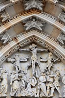 The Crucifixion, St. Vitus´s Cathedral tympanum, Prague, Czech Republic, Europe