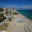 View along beach, Torremolinos, Costa del Sol, Andalucia, Spain, Mediterranean, Europe