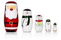 Santa, Snowman, Penguins Russian dolls set